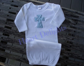 Appliqued Cross Infant Baby Boy Newborn Gown with Applique Embroidery Minky Dot Cross