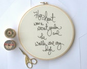 Hoop art / Her heart was a secret garden / hand embroidered Princess Bride quote / natural home decor