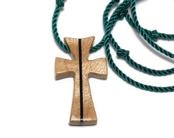 Wooden Cross Pendant - Maple & Ebony - Jewelry for Men