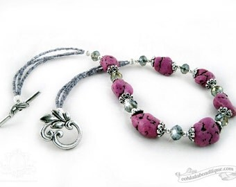 Chunky purple howlite nugget necklace, chunky necklace, bohemian necklace, purple necklace, statement necklace, necklace gift, bead necklace