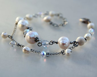 Pearl double strand charm bracelet Bridesmaids gifts Free US Shipping handmade anni designs