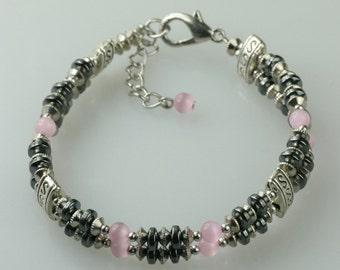 Pink cat eye hematite double strand layered bracelet Bridesmaids gifts Free US Shipping handmade Anni designs