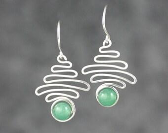 Silver jade wavy serpentite wiring earrings  Bridesmaid gifts Free US Shipping handmade Anni designs