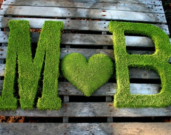 TWO 24 inch Moss Letter Moss Covered Monogram Letters and HEART-Moss Covered Letter Initial Wedding Home Door-I have made 100s of these