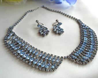 Vintage Ice Blue Rhinestone Bib Style Necklace & Earring Set
