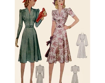 1940s Style Gathered Bust V Neck Dress Six Gore Flare Skirt Custom Made in Your Size From Vintage Pattern