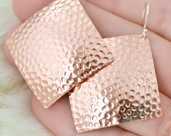 Copper Hammered Earrings - Copper Square Earrings - Dangle Earrings - Copper Jewelry - Hammered Texture - Disk Earrings