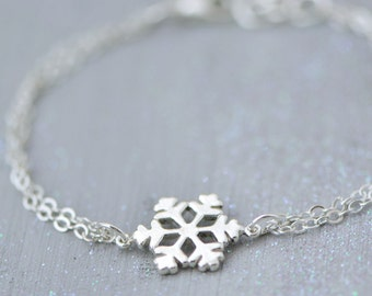 Snowflake Bracelet, Sterling Silver Snowflake Jewelry, Winter Jewelry, Snowflake Charm, Christmas Gift, Sterling Snowflake