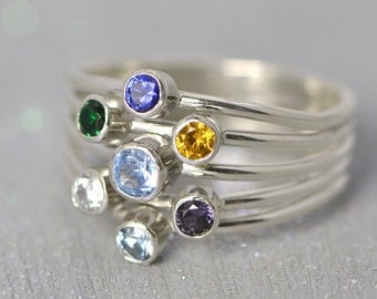 Birthstone Ring,Mother's Ring, Family Ring, Birthstone Jewelry, Grandmother's Ring, Colored Gemstones, 7 Stone Ring, Multi Stone Ring