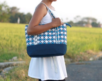 Medium Diaper Bag, Navy Blue cotton with canvas bottom and zipper closure, Modern Bag, daily tote bag