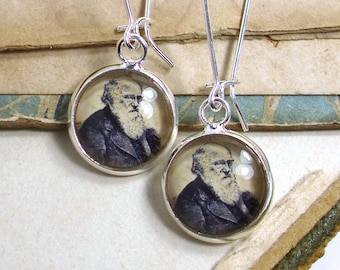 Charles Darwin Earrings in Bronze or Silver
