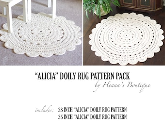 "Crochet Doily Rug Pattern Pack - ""ALICIA"" doily rugs - PDF"