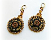 Large Topaz, Gold & Black Beaded Mandela Earrings,  November Birth Color, Boho Styled