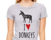 I Love (Heart) Donkeys design2 shirt - Soft Cotton T Shirts for Women, Men/Unisex, Kids