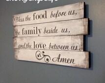Bless The Food Family Religious Kitchen Pallet