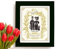 Unique Wedding Gift for Couples Personalized Art Print Day of the Dead Anniversary Gift Engagement Gift Skull Goth Wedding Unusual Gift