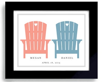 Beach Wedding Gift Adirondack Chairs Unique Engagement Gift For Couples Personalized Art Colorful Chairs Beach Decor Destination Wedding