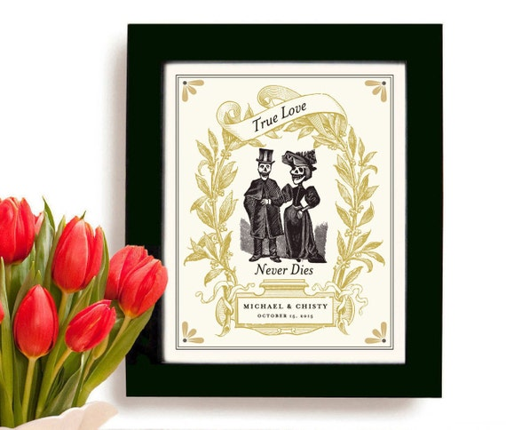 Unusual Wedding Day Gifts : Unique Wedding Gift for Couples Personalized Art Print Day of the Dead ...