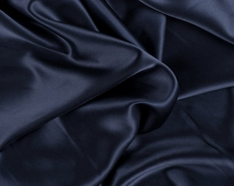 "42"" Wide Stretch Silk Charmeuse Navy Blue By the Yard"
