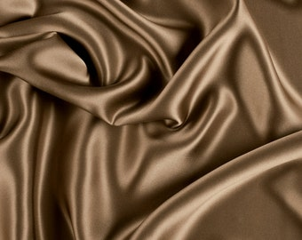 "45"" Wide 100% Silk Charmeuese Mocha Brown By the Yard"