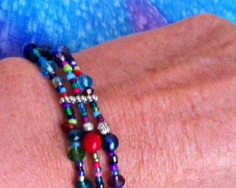 Bead Bracelet 3 Strands of Multicoloured Beads