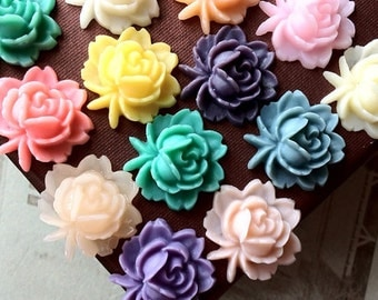 18 x 18 mm Assorted Colour Resin Flower Cabochons (.ag)
