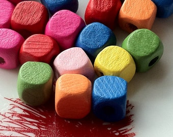 8 mm x 8 mm Square Wooden Beads of Assorted Colors (.ms)