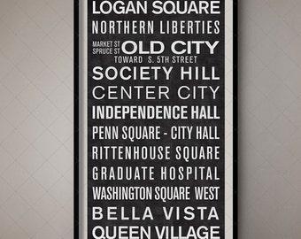 Philadelphia Pennsylvania Vintage Bus Destination List - Subway Sign Poster, Trolley Scroll, Wall Poster, Vintage Poster, Train Banner