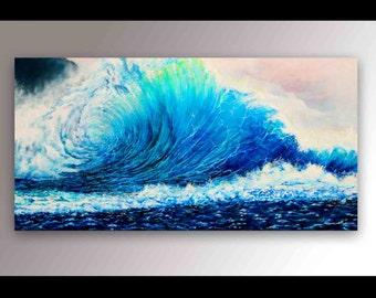 Wave Painting | Ocean Painting | Signed Print | Hawaii Painting | Ocean Waves | Beach Decor | Coastal Decor | Surf Decor