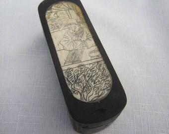 Chinese Scrimshaw Bone Box