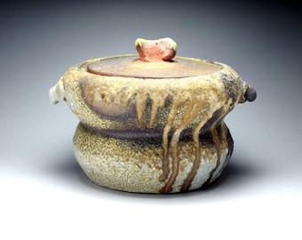 Shigaraki, anagama, ten-day anagama wood firing, with natural ash deposits Iga lidded water jar. igamizu-23