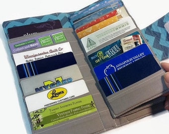 Women's Wallet Bifold Credit Card Holder, Loyalty 38 Card Organizer Blue Chevron Card Wallet