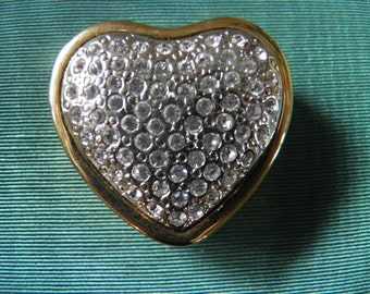 Heart Shape Rhinestone Pill Box