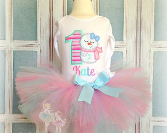 Snowman birthday outfit - 1st birthday snowman tutu outfit - winter wonderland themed outfit - personalized winter tutu outfit with snowman