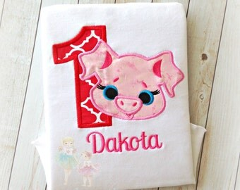 Girls pig birthday shirt - Farm themed birthday shirt - 1st birthday shirt - custom embroidered birthday shirt - personalized shirt