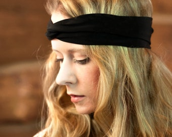 Black Twist Headband, Womens Turban, Black Headband, Adult Headband Black Head bands, Sister Gift for Her, Stretch Hairband Womens Headband,