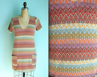 knitted colorful striped mini dress / size xsmall
