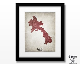 Laos Map Art Print - Home Is Where The Heart Is Love Map - Original Personalized Map Art Print Available in Multiple Sizes