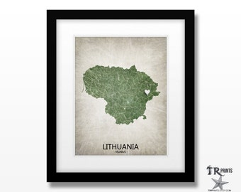 Lithuania Map Print - Home Is Where The Heart Is Love Map - Original Custom Map Art Print Available in Multiple Size and Color Options