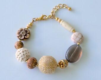 Neutral Bead Bracelet, Mixed Materials and Textures, Burlap, Crochet, Jasper, Carved Bone, Rhinestone, Smoky Quartz, Wood and Howlite Beads,