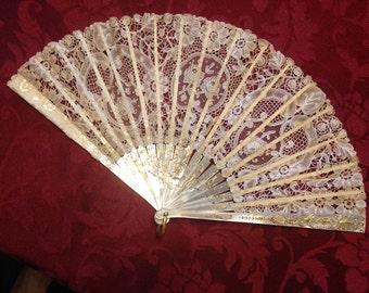 CLEARANCE!!!!!   Stupendous Antique Duvelleroy Hand Fan with Original Box