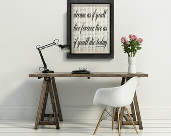 dream as if you'll live forever james dean large art print poster atlas page quote typography wall decor inspirational motivational