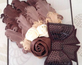 Brown feather hair clip, brown feather clip, chocolate brown clip, cream and brown hair clip ~On Sale~