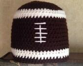 Crochet football beanie hat