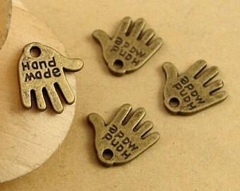Handmade Charms -50pcs Antique Bronze Handmade imprinted Palm Charm Pendants 12x12mm D306-1