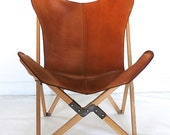 """Original BKF """"Tripolina"""" Butterfly Chair - Premium Leather and Wood Folding Frame Chairs"""