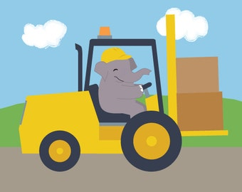Construction Nursery Art - Elephant in a Forklift Children's Art Print
