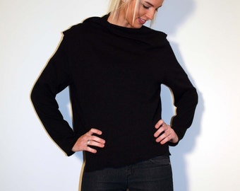 Black Wrap Top Sweater Loose Front Opening - Made From Black Sweater Knit Fabric