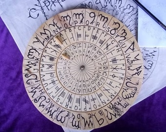 Cypher Wheel Cipher Disk Wood with Theban, Ogham, Enochian, & Celtic Rune Scripts in Black Ink, for your Secret Codes.