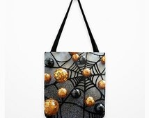 Halloween Candy Tote Bag, Spooky Cobweb, Glitter Look, 13 x 13, 16 x 16, 18 x 18, Black, Gold, Novelty, Party, Shopping, Travel, Etsy ArtBJC
